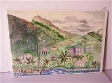 watercolor Caribbean s scene signed