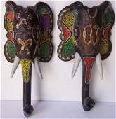 2 Ashanti-Ghana elephant beaded wall hangings