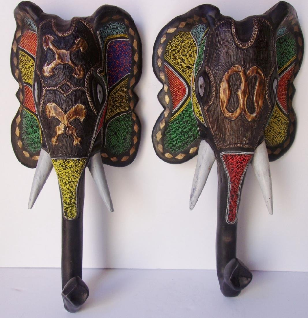 2 Ashanti-Ghana elephant beaded wall hangings