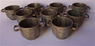 9 vintage double handed cupsbowls