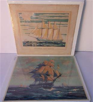 2 vintage sailboat prints