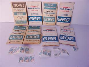 Collection of circa 1960 triples blue stamps