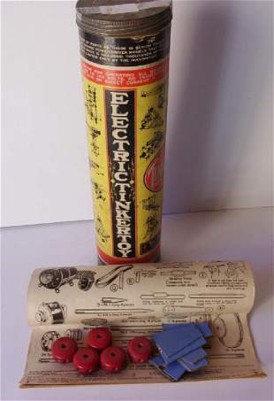 Vintage electric tinker toy in original container