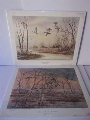 2 duck lithographs by Ted Ewell
