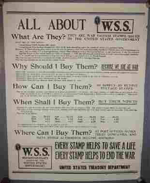 WWI All about war savings stamps poster