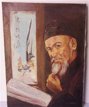 contemporary oil on canvas Chinese gentleman