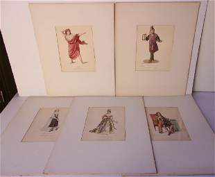 5 1819th century hand colored French lithographs