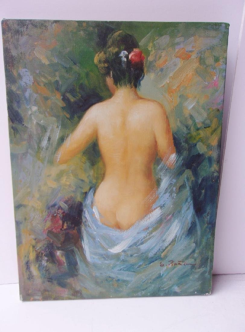 Oil on canvas nude woman signed S. Banton