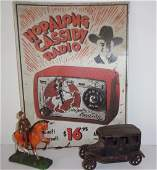 3 piece assorted lot metal sign cast iron toy car