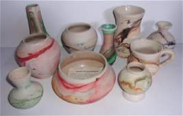 10 piece pottery vase lot