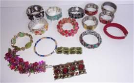16 vintage costume jewelry bracelets