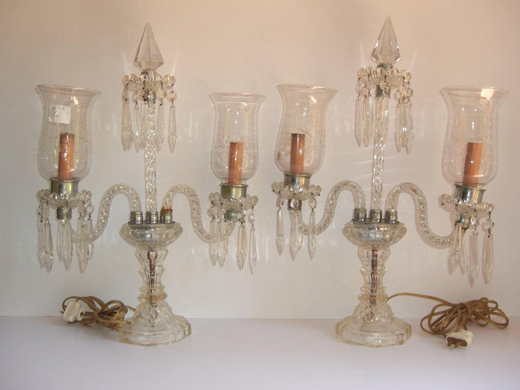 Pair of mid-century cut glass candalabras