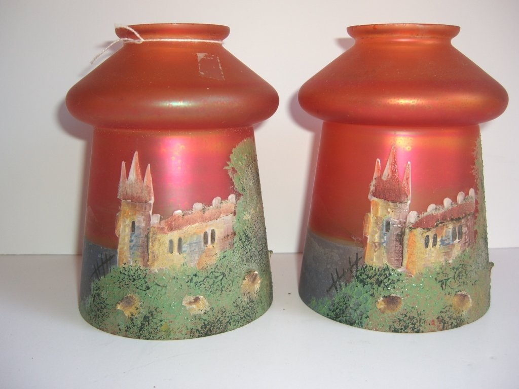 2 hand painted iridized lamp shades