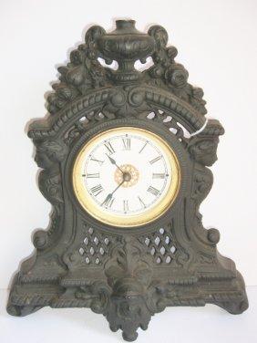 Ornate Cast Iron Mantel Clock