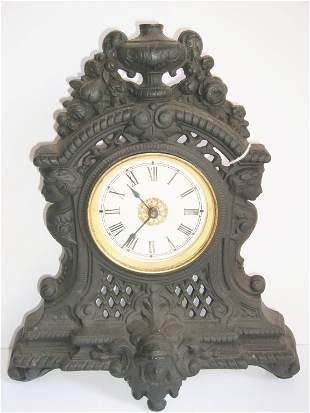 Ornate Cast iron mantel clock