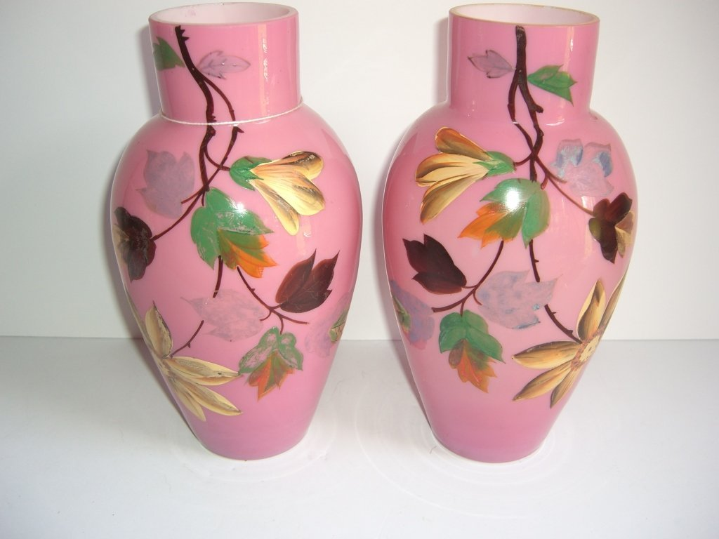 Pair of 19th c. hand painted floral vases