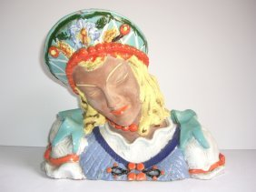 Studio Pottery Woman Bust Singed