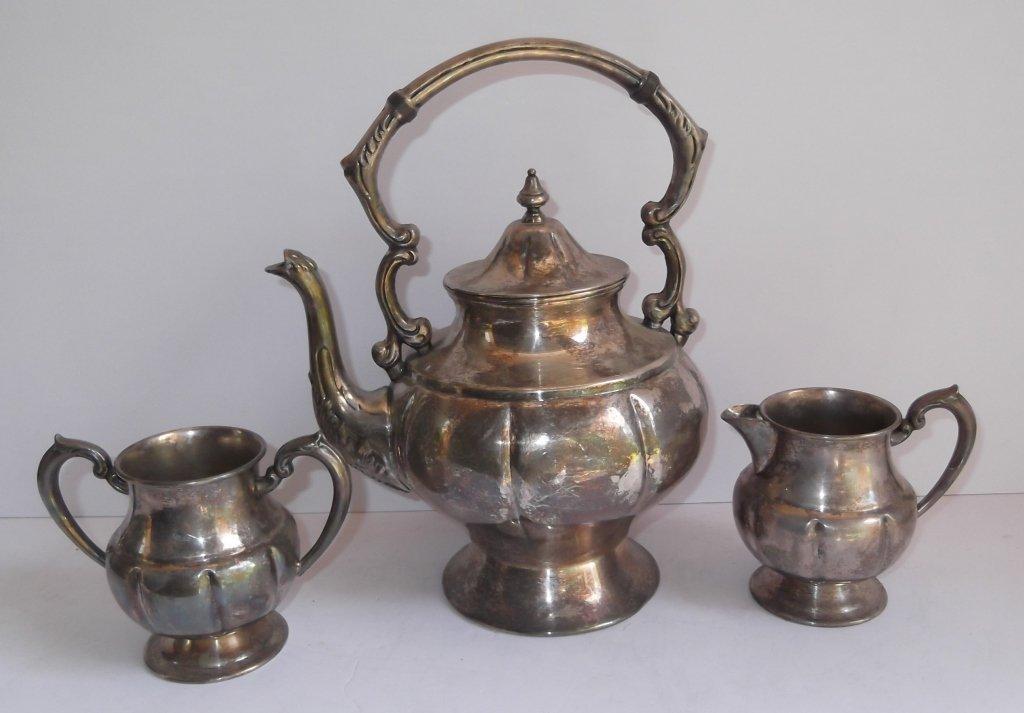 3 piece Silver on Copper tea set