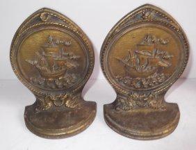 Bradley & Hubbard Sailboat Nautical Bookends