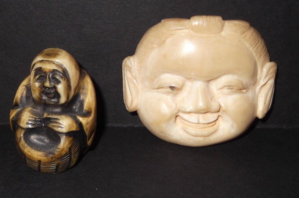2 Carved bone netsukes