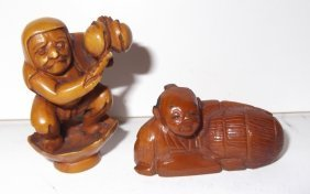 2 Carved Wood Netsukes
