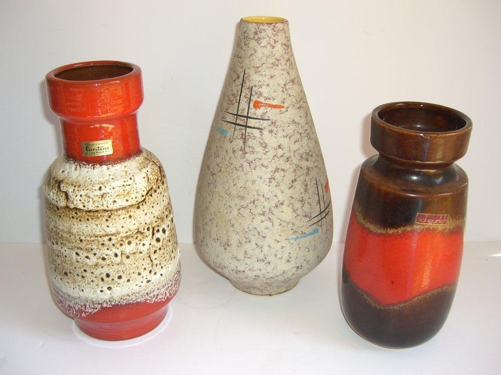 3 mid-century modern vases
