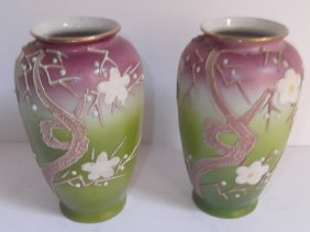 Pair Of Hand Painted Nippon Vases