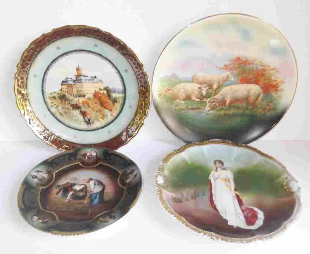 4 decorative wall hanging plates/platters