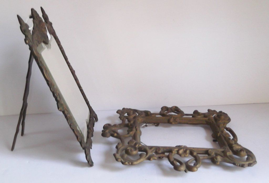 2 piece ornate  metal mirror & frame