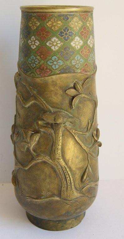 Brass & enamel Japanese  vase