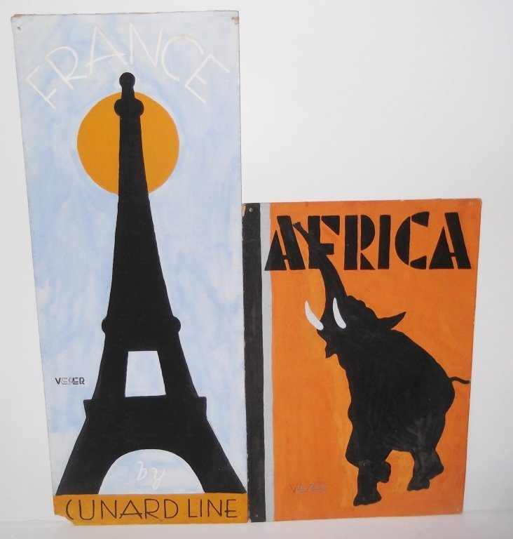 2 illustrations possibly for travel posters