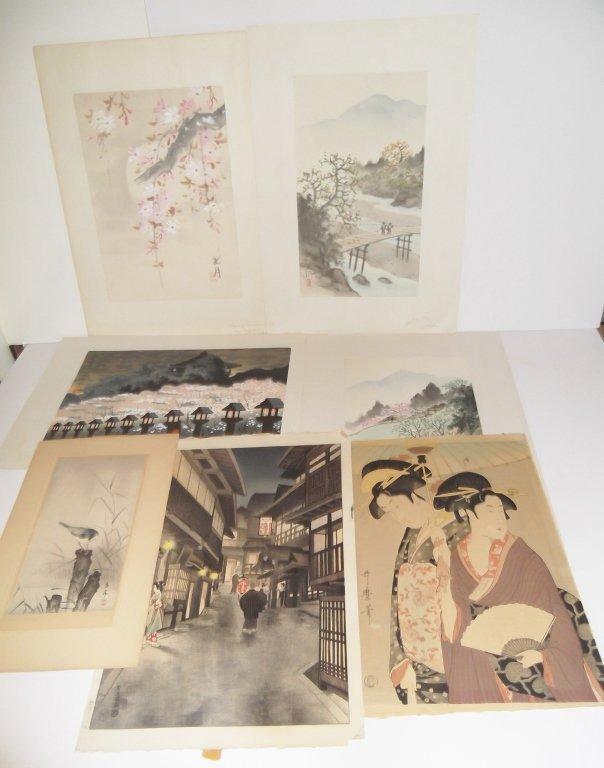 7 piece Japanese woodblock prints