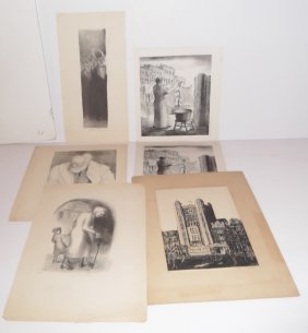 6 Lithographs & Woodblock Signed A. Truman