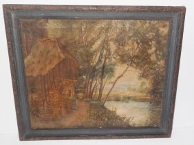 Oil On Canvas Hut Scene By Water, Unsigned