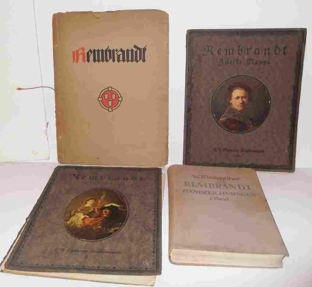 4 books/portfolio of copies of Rembrants paintings