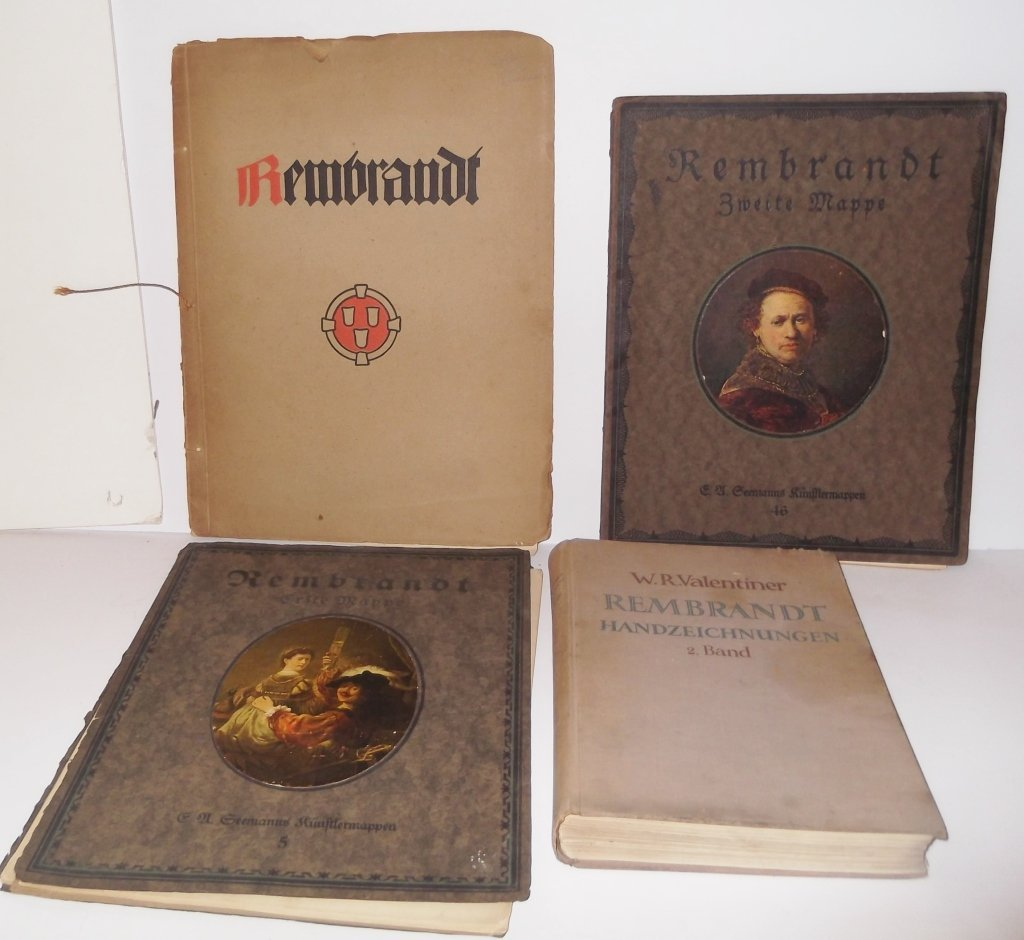 4 books/portfolio of copies of Rembrants paintings