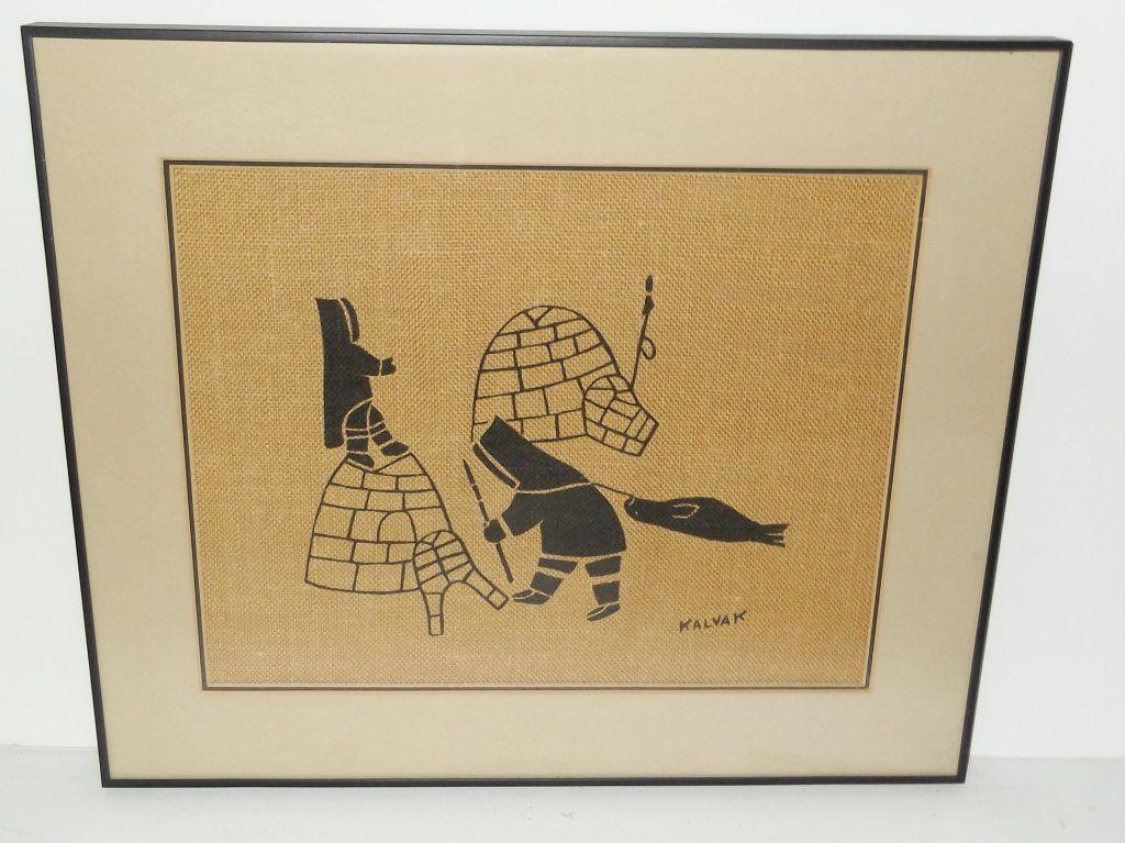 Inuit Eskimo Wall Art Silkscreen on Burlap
