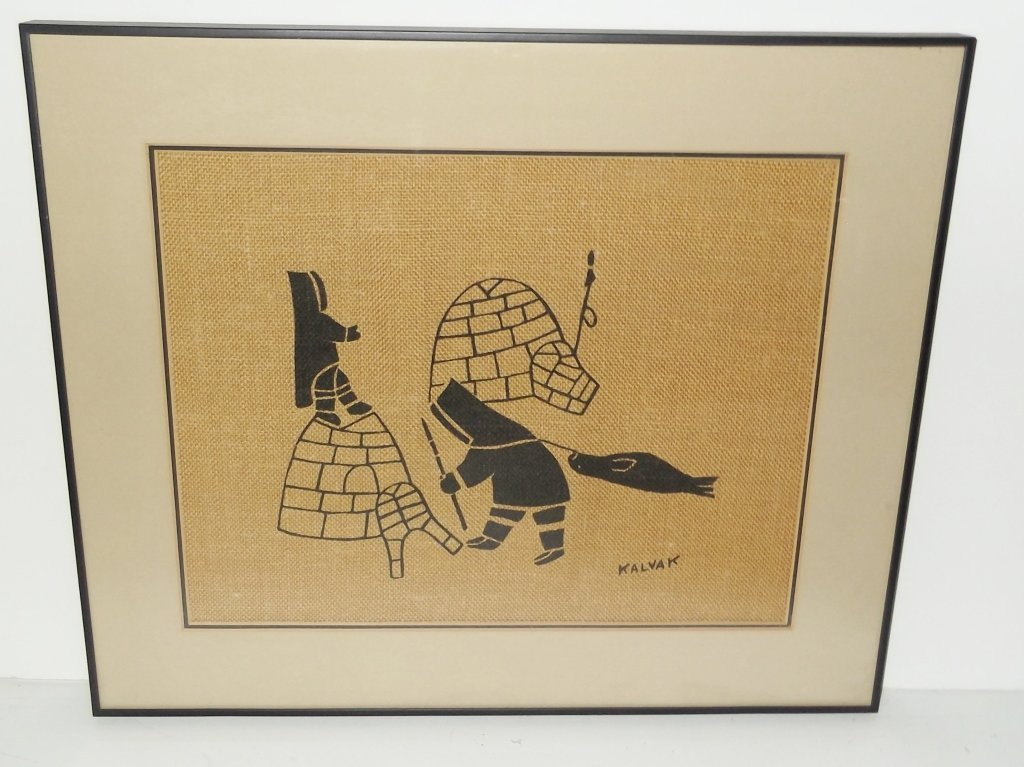 Inuit Eskimo Wall Art Silkscreen on Burlap