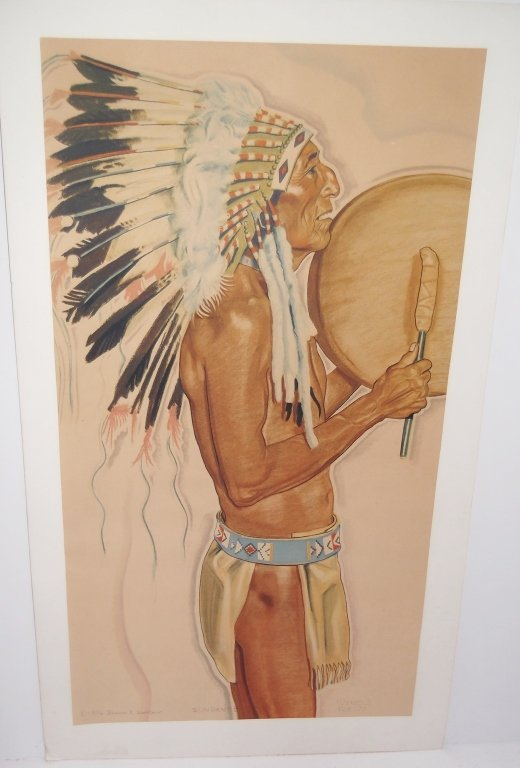lithograph of Indian signed Winold Reiss