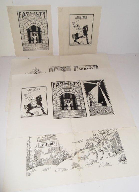5 piece illustration drawings