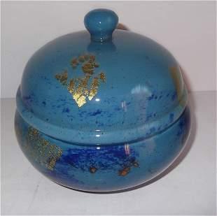art glass covered dresser jar