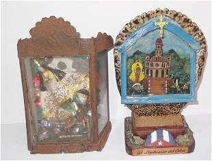 2 hand made shadow box style religious figures for