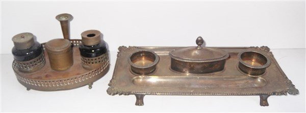 2 late 19th ink well desk sets