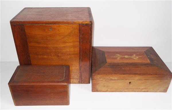 3 19th/20th century wood boxes