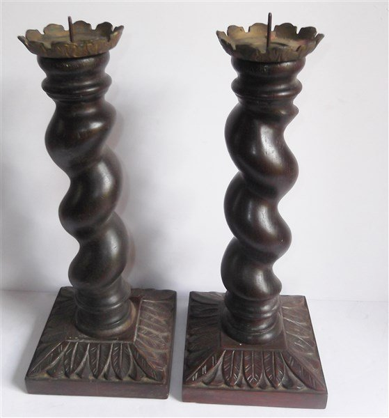 Pair of large wood carved candle holders