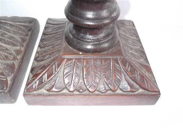 Pair of large wood carved candle holders - 2
