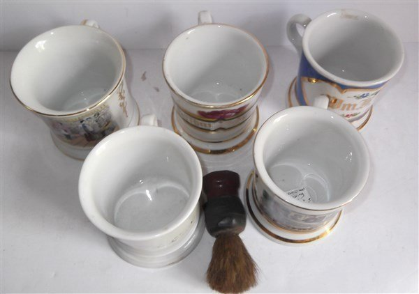 5 late 19th/early 20th c. shaving mugs - 2