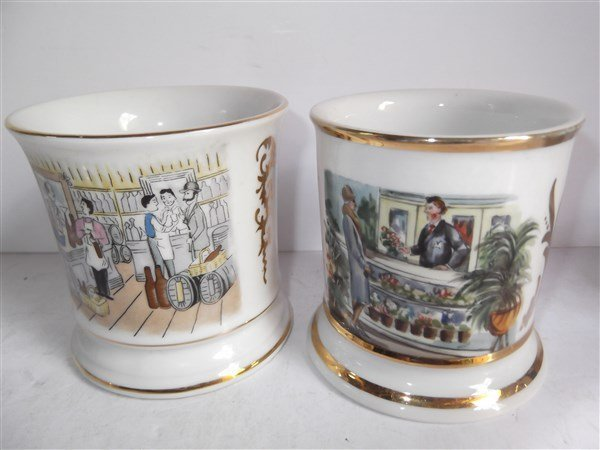 5 late 19th/early 20th c. shaving mugs - 3