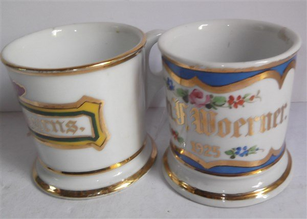 5 late 19th/early 20th c. shaving mugs - 7