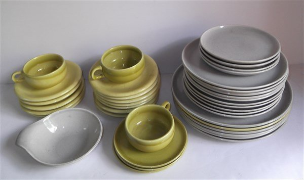 Russel Wright plates; cups; saucers